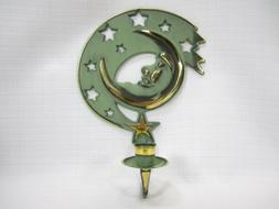 Moondance Moon Wall Sconce Candle Holder Gold Green Partylit