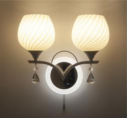 New Bedroom Crystal Sconce Wall Lamp Pull Wire Switch LED Gl