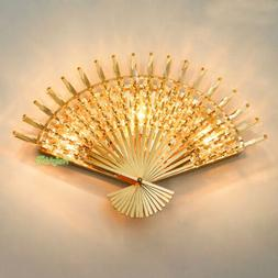 New Golden Fan-Shaped Wall Sconce Crystal Wall Lamp For Home