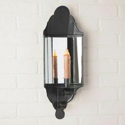 New England new large Mirror Candle Wall Sconce in Black Tin