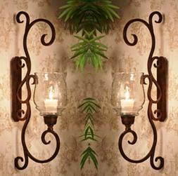 """NEW TUSCAN LARGE 22.75"""" H IRON SCROLL Candle Holder Wall Sco"""
