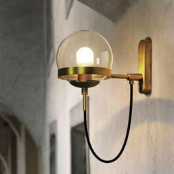 Nordic Style Globe Glass Wall Sconce Brass Retro Wall Light