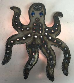 Octopus Wall Sconce, Tin, Hand Punched, Lighted, Sea Animal,