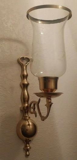 Ornate Solid Brass Candle Holder Wall Sconce Etched Crystal