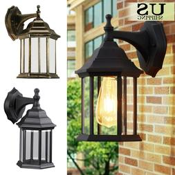 Outdoor Wall Mount Lantern Lamp Sconce Exterior Clear Glass