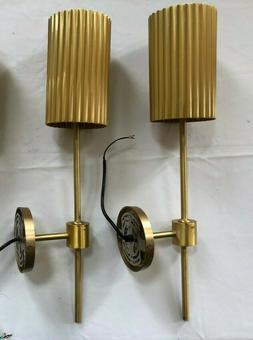 Pair - CB2 Fluted Gold Wall  Sconce -  One NIB/One New Other