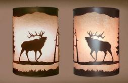 Pair of 2  Wall Sconce Rustic Bear lights, Hand Painted Pine