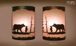 Pair of 2  Wall Sconce Rustic Bear lights, Cabin Decor lamp,