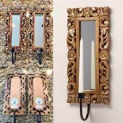 Pair Of World Market Wall Carved Wood Olivia Sconce Taper Ca