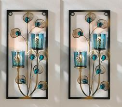 Peacock Feathers Wall Sconce with 2 Turquoise Candle Cups