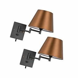 Pauwer Plug in Wall Sconce Set of 2 Swing Arm Wall Lamp with