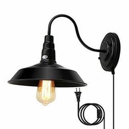 Lightess Plug in Wall Sconces 1-Light Gooseneck Industrial B