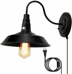 Lightess Plug in Wall Sconces Lighting 1-Light Gooseneck Ind