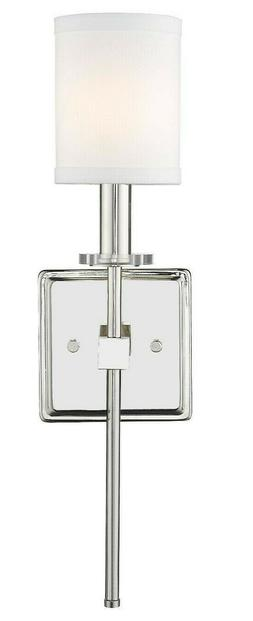 "Polished Nickel Wall Sconce 19""H With Shade Traditional Glam"