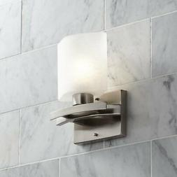 """Possini Euro Linen Glass 8 1/2""""W Brushed Nickel Wall Sconce"""