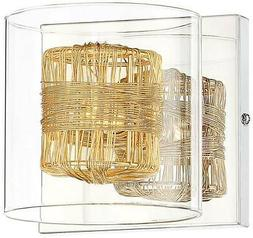 "Possini Euro Wrapped Wire 5"" High Gold Wall Sconce"