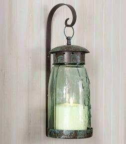 Quart Glass Mason Jar Hanging Wall Sconce Lantern Primitive