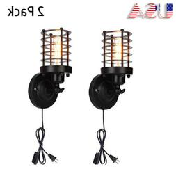 Retro Cage Wall Sconce Lamp Plug in Cord with Switch Metal I