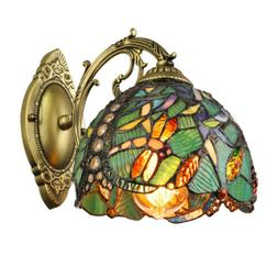Retro Green Dragonfly Wall Sconce Tiffany Style Stained Glas