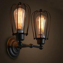 retro industrial wall sconce light metal cage