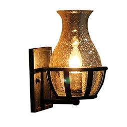 JinYuZe Retro Rustic Wall Sconce Light with Clear Seeded Gla