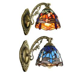 Retro Tiffany Wall Lamp Dragonfly Stained Glass Shade Sconce