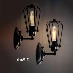 Retro Wire Cage Wall Sconce Black Metal Industrial Wall Ligh