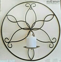Round Scroll Black Metal Wall Sconce Decor Pillar Candle Hol