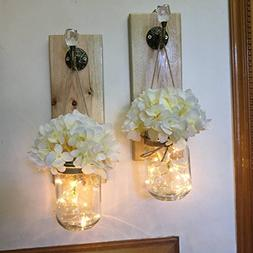 Rustic Mason Jar Lighted Wall Sconces, Set of 2, Rustic Home