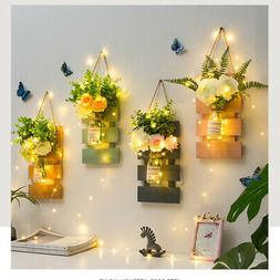 Rustic Mason Jar Wall Sconces with LED Fairy Lights and Flow