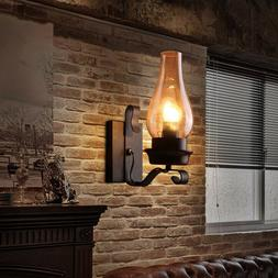 Rustic Stainless Black Metal Wall Sconce Glass Chimney Shade