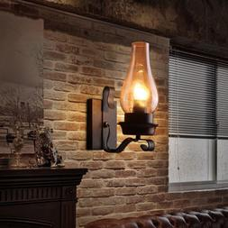 Rustic Vintage Single Wall light Metal Wall Sconce with Glas