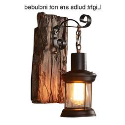 Rustic Wall Loft Light Industrial Wood Sconce Cafe Lamp Hote