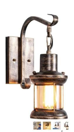 Rustic Wall Sconce Light Fixture Vintage Industrial Metal Br