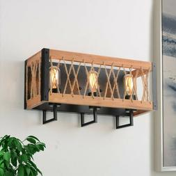 Rustic Wall Sconce Rectangle Wood Wall Lighting Fixtures Far