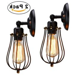 KingSo Rustic Wall Sconces 2 Pack, Wire Cage Wall Sconce, Bl