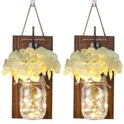 Anpro Rustic Wall Sconces,Mason Jar Lights, White Flower and