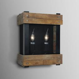 LNC Rustic Wall Sconces Wood Wall Lamp 2-light Indoor Sconce