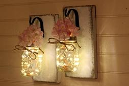Rustic Wall Set Sconces Mason Jar Set Mason Jar Sconce Wall