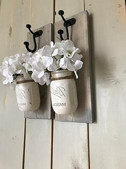 Rustic Wood Wall Sconce, Wood Wall Sconce with Flowers, Flor