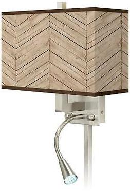 Rustic Woodwork Giclee Glow LED Reading Light Plug-In Sconce