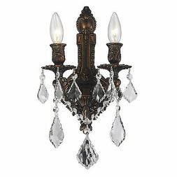 SALE French Versailles 2 Light Dark Bronze Crystal Wall Scon