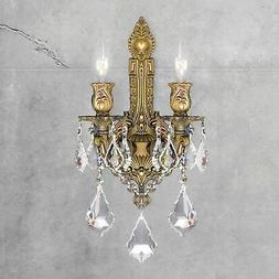 SALE French Versailles 2 Light French Gold Crystal Wall Scon