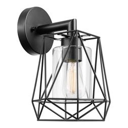 Sansa 1-Light Outdoor/Indoor Wall Sconce, Black, Clear Glass
