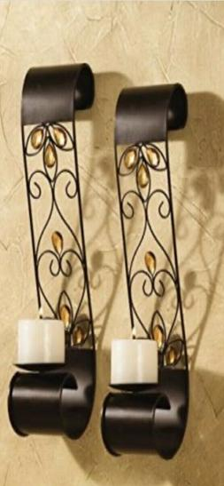 Lotus Gem Scroll Scones Sconces Set of Two  New in Box
