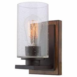 """Kira Home Sedona 9"""" Transitional Wall Sconce, Seeded Glass C"""