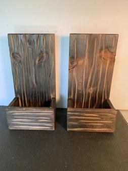 Set Of 2 Farmhouse Decor Wooden Sconce Rustic Wall Decor Han