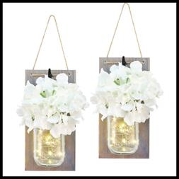 Set Of 2 Mason Jar Sconces Wall Decor W LED Fairy Lights & F