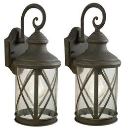 Set of 2 Outdoor Wall Light Weathered Patina Vintage Home Ex