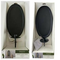 Set Of 2 Smith & Hawken Taper Candle Sconce Black Finish Wal